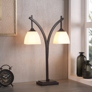 Link to Porch & Den Alfred Glass Shades Bronze Modern 2-light Table Lamp Similar Items in Desk Lamps