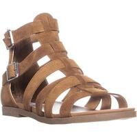 Steve Madden Diver Gladiator Zip Up Flat Sandals, Chestnut