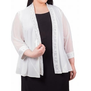 R&M Richards Ivory Womens Size XL Shimmer Trim Open Front Jacket