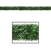 100' Festive Shiny Green Gleam 'N Tinsel Holiday Garland - Unlit