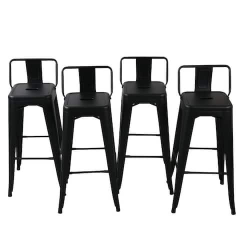 Belleze 30-inch Barstools Black Bar Stools Low Back (Set of 4) - standard