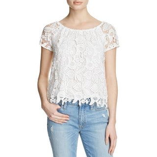 WAYF Womens Casual Top Crochet Illusion - l