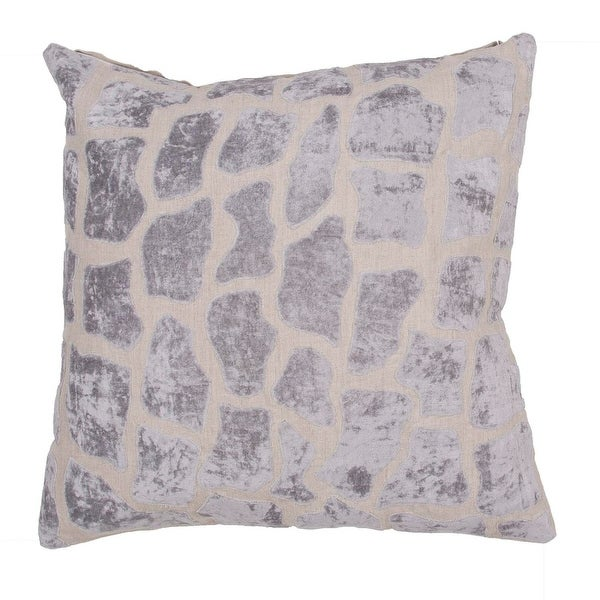 "22"" Light Gray and Off-White Linen Animal Print Pattern Indoor Decorative Throw Pillow"