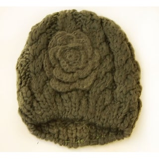 Women's Winter Short Knitted Beanie with Knitted Rose Bud Flower