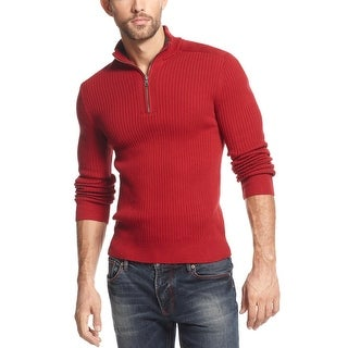 INC International Concepts Ribbed Quarter Zip Sweater Small Maraschino Red