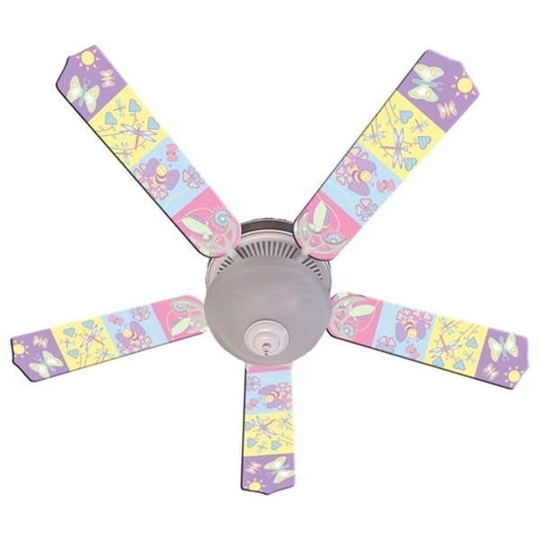 Pastel Butterfly and Friends Designer 52in Ceiling Fan Blades Set - Multi