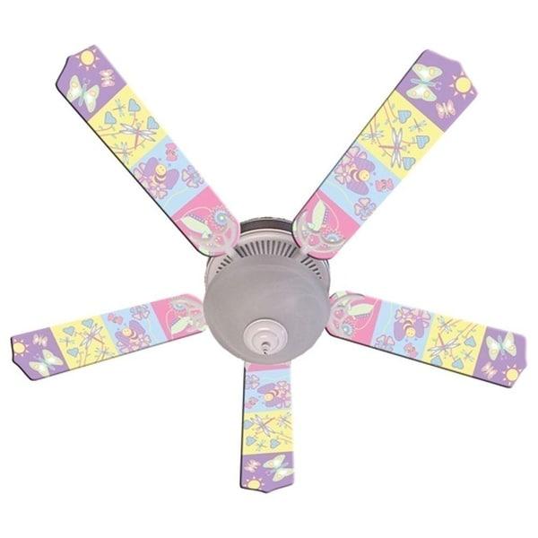Pastel Butterfly and Friends Print Blades 52in Ceiling Fan Light Kit - Multi