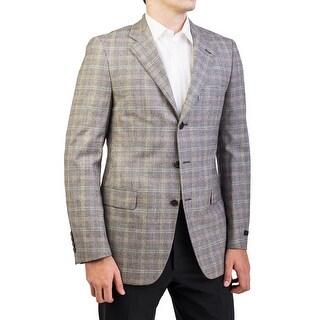 Prada Men's Virgin Wool Three-Button Plaid Sport Coat Jacket Beige Multi-Colored - 38