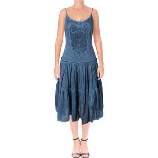 Lauren Ralph Lauren Womens Sundress Crochet Inset Tiered