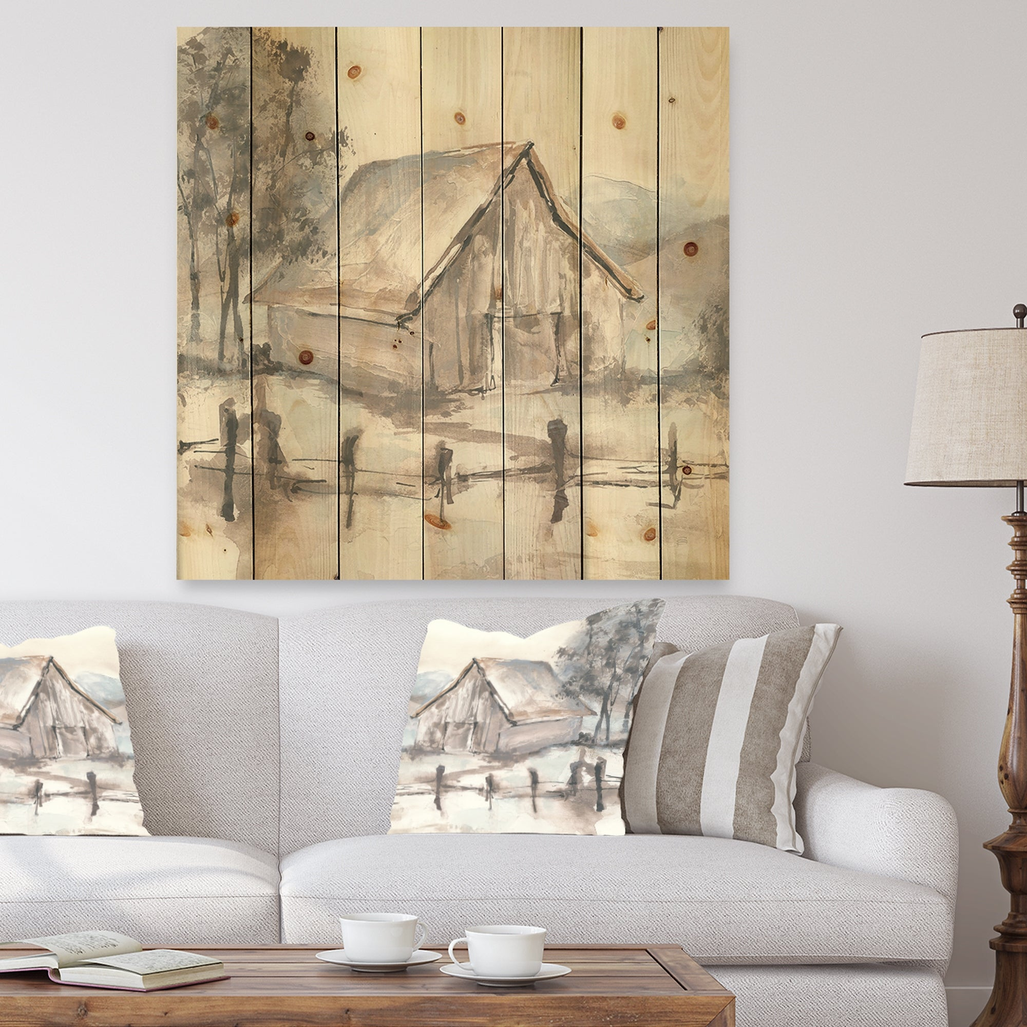 Designart Farmhouse Barn Grey Vii Modern Farmhouse Print On Natural Pine Wood Overstock 25972084