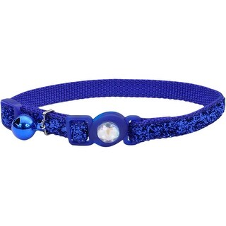 Safe Cat Jeweled Buckle Breakaway Collar W/Glitter Overlay-Blue