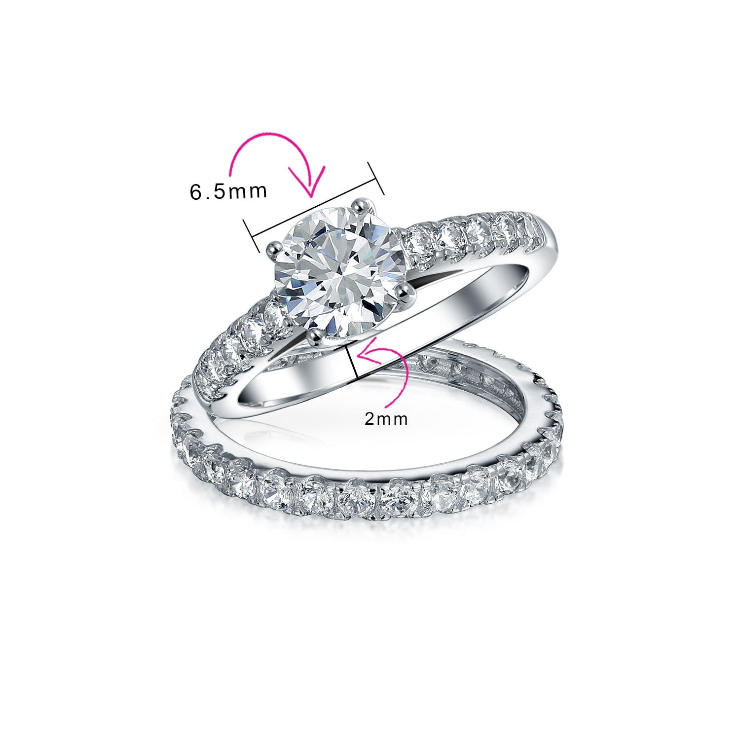 Details about  /1ct Round Engagement Ring //Wedding Band SOLID Sterling Silver//Cubic Zirconia CZ