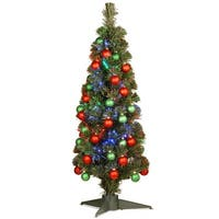 3' Pre-lit Fiber Optic Fireworks Artificial Christmas Tree with Ball Ornaments - Multi Lights - green