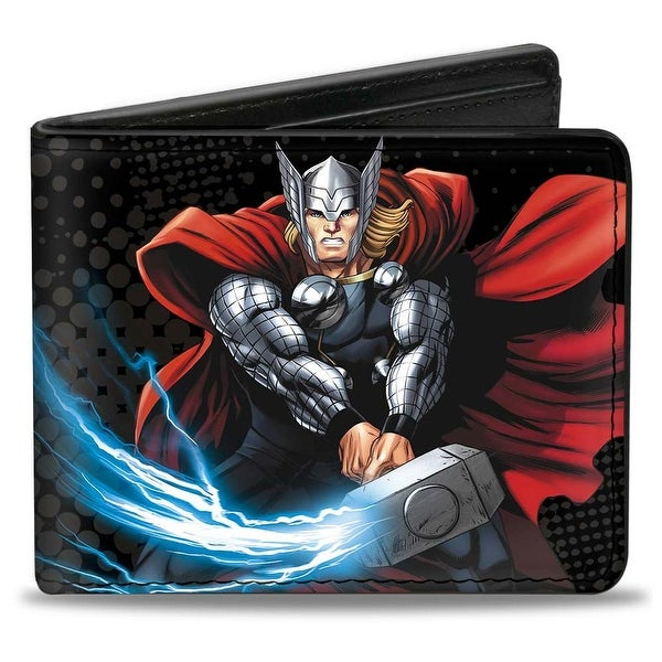 "Marvel Avengers Thor Action Poses Thor ""A"" Logo Black Red Bi Fold Wallet - One Size Fits most"