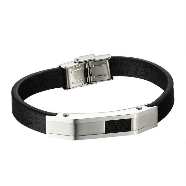 Stainless Steel Mens Bracelet Cable Coil Wire Design Black Leather Wristband
