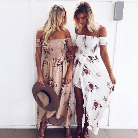 Boho Style Long Dress Women Off Shoulder Beach Summer Dresses Floral Print Vintage Chiffon White Maxi Dress Vestidos De