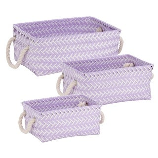 Honey Can Do STO-06682 Zig Zag Tote Bin, White/Lilac, Polypropylene, Set of 3