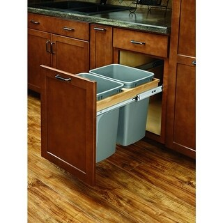 Rev-A-Shelf 4WCTM-15BBSCDM2 4WCTM Top Mount Double Bin Pull Out Can with Soft Close Slides - 27 Quart Capacity