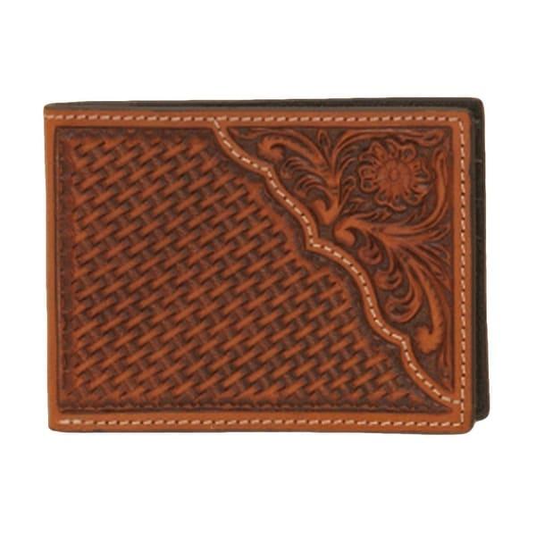 Nocona Western Wallet Mens Leather Pro Bifold Tooled Saddle - One size