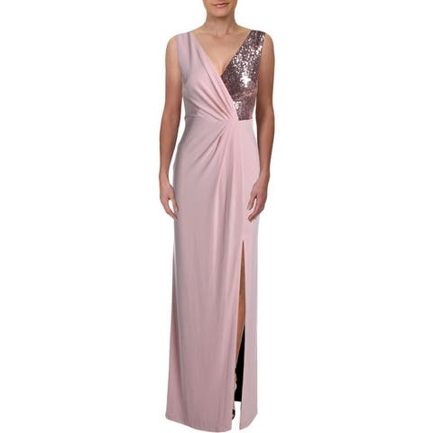 Vince Camuto Womens Evening Dress Sequined Surplice - Blush