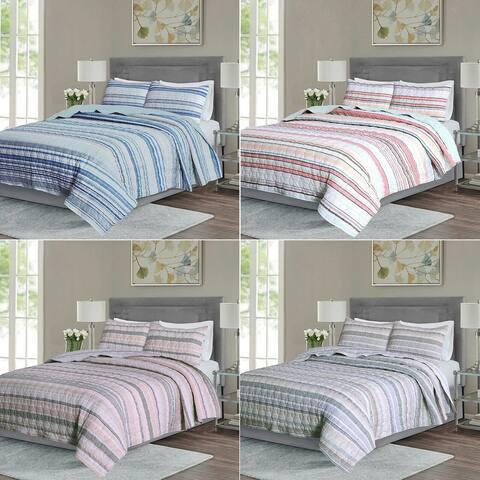 EnvioHome Cotton Blend Reversible Seersucker Striped Quilt Bedding Set