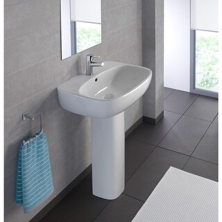 """Bissonnet Moda 60 Pedestal Moda 23-5/8"""" Vitreous China Pedestal Bathroom Sink with Single Faucet Hole and Overflow - White"""