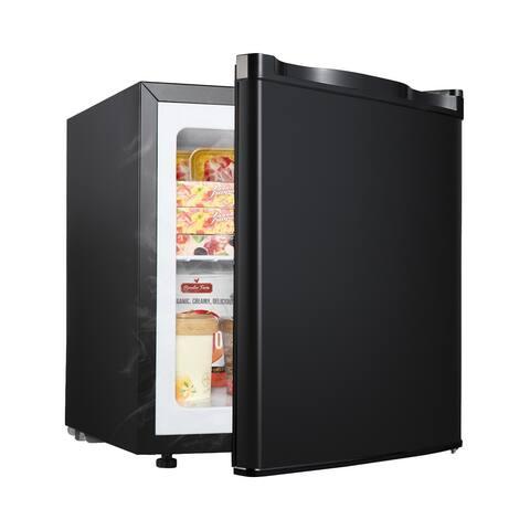 1.1 Cubic Feet,Compact Single Door Upright Freezer with Reversible Adjustable Stainless Steel Door