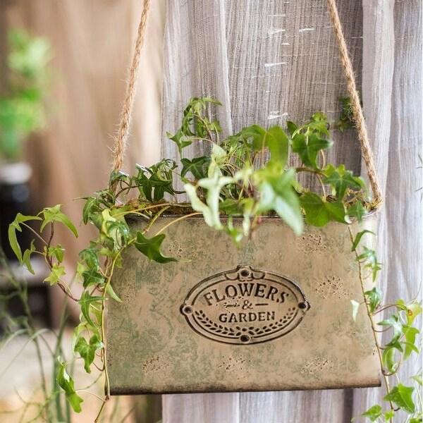 Half Pitcher Wall Planter Decorative Mounted White Enamel Vase Flowers /& Garden