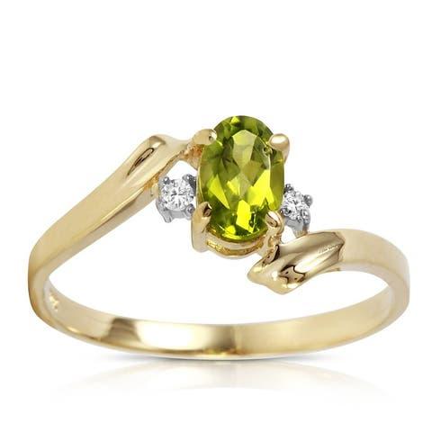 14k Gold 0.46 Carat Oval Cut Natural Diamond Peridot Gemstone Ring