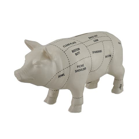White Ceramic Pig Shaped Coin Bank Butcher Chart Piggy Bank 4 in. - 4 X 7.5 X 2.5 inches
