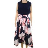 SLNY Navy Blue Womens Size 18W Plus Floral Printed A-Line Dress