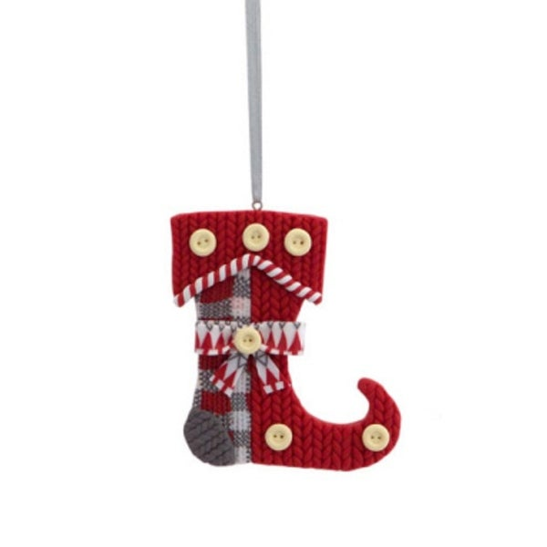 """3.5"""" Alpine Chic Red, White and Gray Knit Style Stocking Christmas Ornament"""