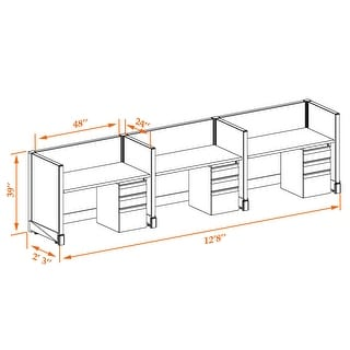 Small Office Cubicles 39H 3pack Inline Unpowered (2x4 - Walnut Desk White Paint - Assembly Required)