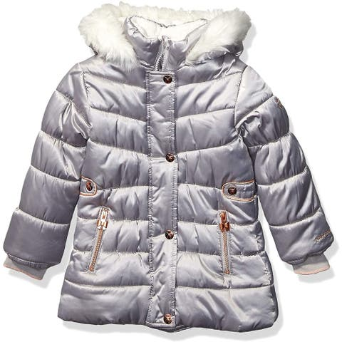 London Fog Baby Girls' Puffer Jacket Silver Size 3T Fleece-Lined Hooded