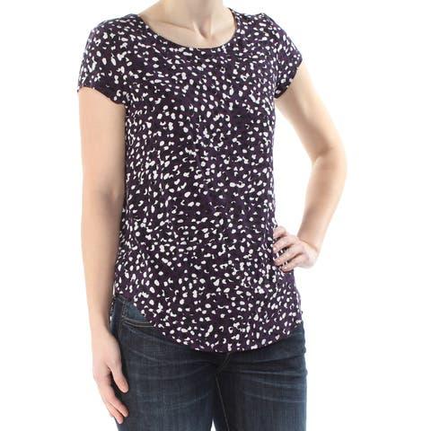 ALFANI Womens Purple Printed Short Sleeve Jewel Neck Top Size: S