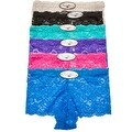 Women's 6 Pack Lace Cheeky Boyshorts Panties - Thumbnail 0