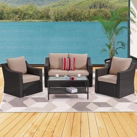 4 Pieces Outdoor Rattan PE Wicker Furniture Sets by Bonosuki