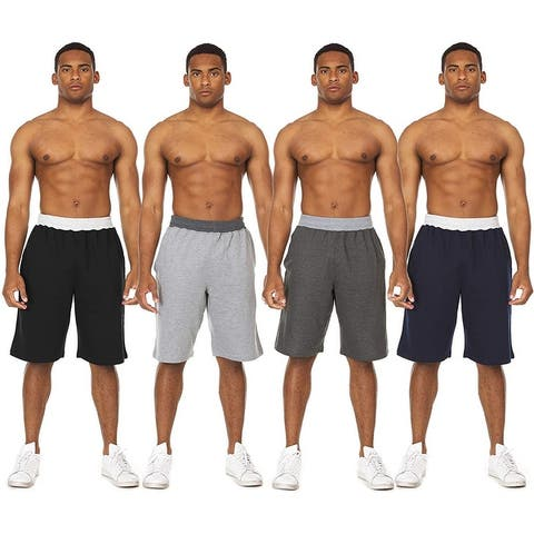 Essential Elements 4 Pack: Men's Brushed French Terry Casual Jersey Athletic Lounge Sleep Drawstring Shorts with Pockets