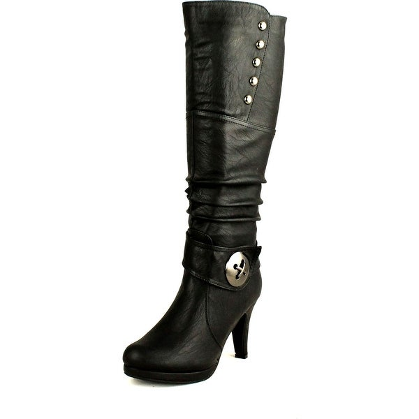 Top Moda Womens Win-45 Knee High Round Toe Slouched High Heel Boots