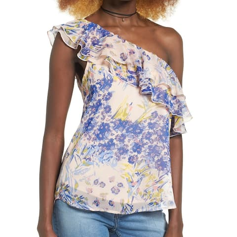 Leith Blue Women's Large One Shoulder Floral Ruffle Top