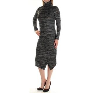KENSIE $79 Womens New 1118 Black Heather Turtle Neck Midi Body Con Dress S B+B