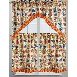 Fruit Box 3-Piece Kitchen Curtain Set, Orange, Valance 60x36 Inches, Tiers 30x36 Inches