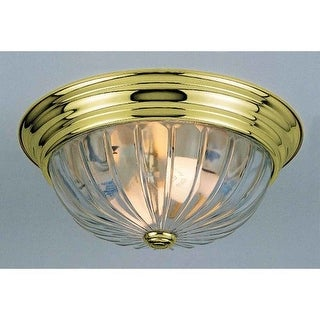 "Volume Lighting V7811 2 Light 13"" Flush Mount Ceiling Fixture with Clear Melon Ribbed Glass Shade"