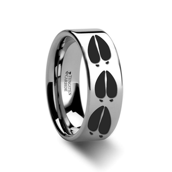 THORSTEN - Animal Deer Track Mule Print Ring Engraved Flat Tungsten Ring - 12mm