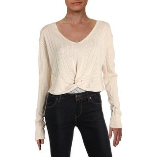 Free People Womens Got Me Twisted Crop Sweater Linen V-Neck