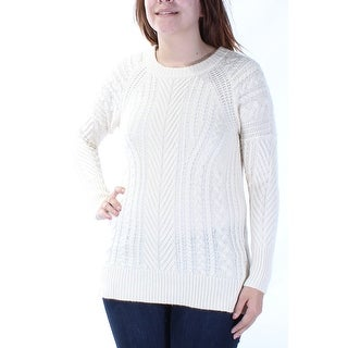 Womens Ivory Long Sleeve Jewel Neck Sweater Size S