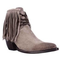 FRYE Sacha Fringe Chukka Lace Up Pointed Toe Ankle Boots, Ash - 7.5 us