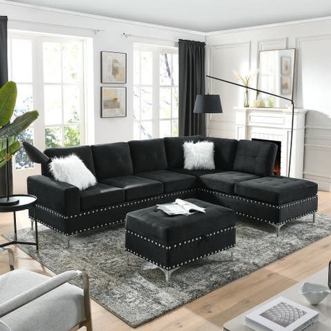 Sectional 3-Seaters Sofa with Reversible Chaise, Storage Ottoman and Cup Holders, Metal Legs and Copper Nails