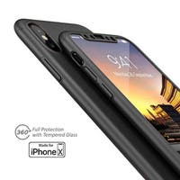 Indigi Black 360 Full Protective Case w/ Tempered Glass For iPhone X