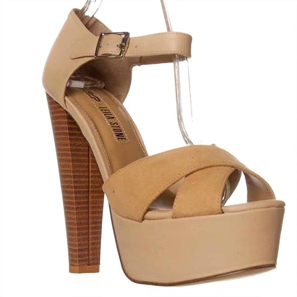 Leila Stone Bethan Ankle Strap Sandals - Tan/frappe - 7.5
